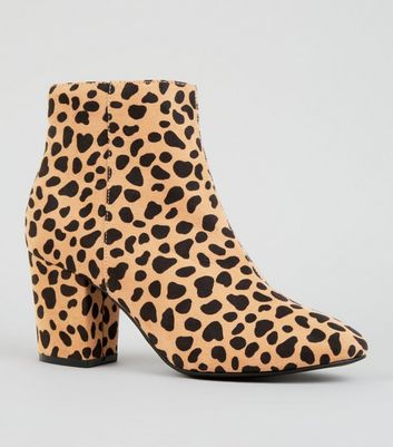Brown Leopard Print Mid Block Heel Ankle Boots