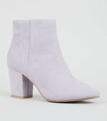 Lilac Suedette Mid Block Heel Ankle Boots by New Look