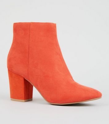 Orange Suedette Mid Block Heel Ankle Boots
