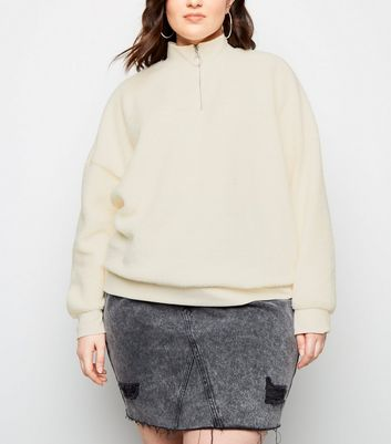 Curves Off White Borg Ring Zip Sweatshirt