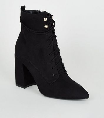 Black Pointed Block Heel Lace Up Boots