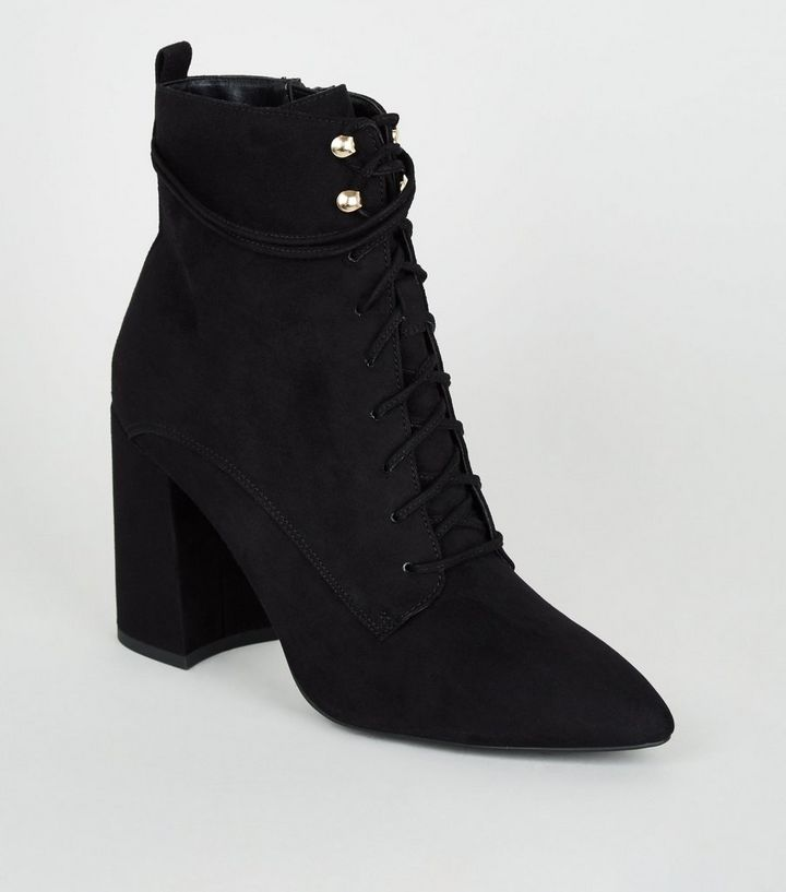 68ae0d8f1c0e Black Pointed Block Heel Lace Up Boots