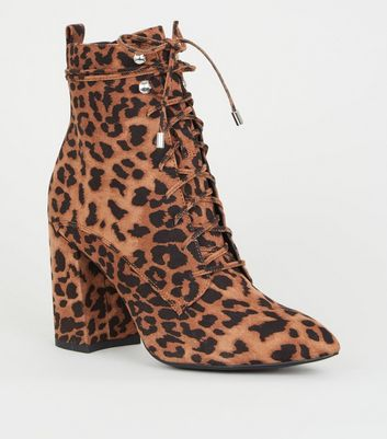 Brown Leopard Print Pointed Block Heel Lace Up Boots