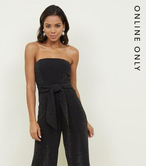 c424f9cb5394 ... Black Glitter Strapless Tie Waist Jumpsuit ...