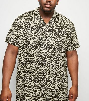 Plus Size Off White Leopard Print Shirt