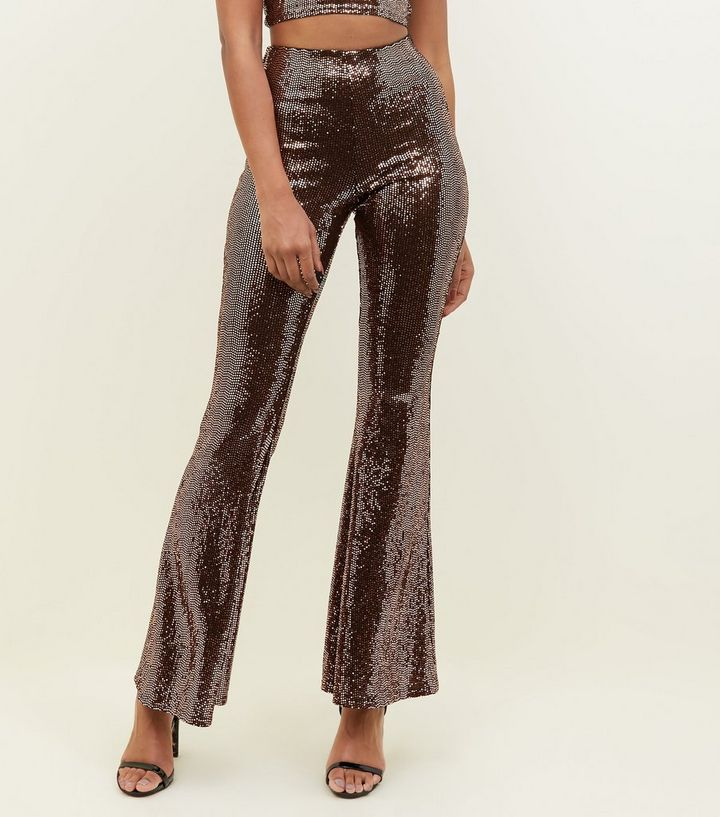 bd4f0c7dd09 Bronze Mirrored Sequin Flared Trousers