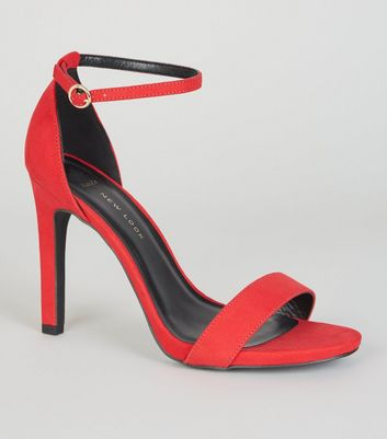 Wide Fit Red Suedette 2 Part Stiletto Sandals