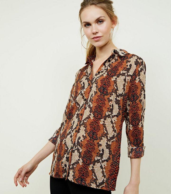2c9ff2cb33a Brown Snake Print Shirt