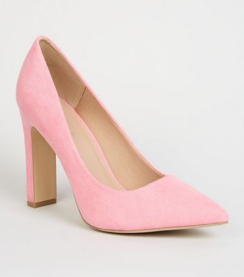 Wide Fit Pink Suedette Slim Block Heel Courts by New Look