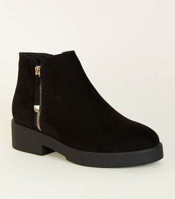 Wide Fit Black Chunky Ankle Boots