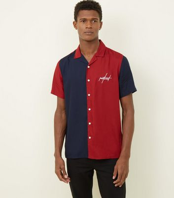Red Portland Colour Block Short Sleeve Shirt
