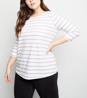 Curves Lilac Stripe Pocket Front Slouchy T-Shirt