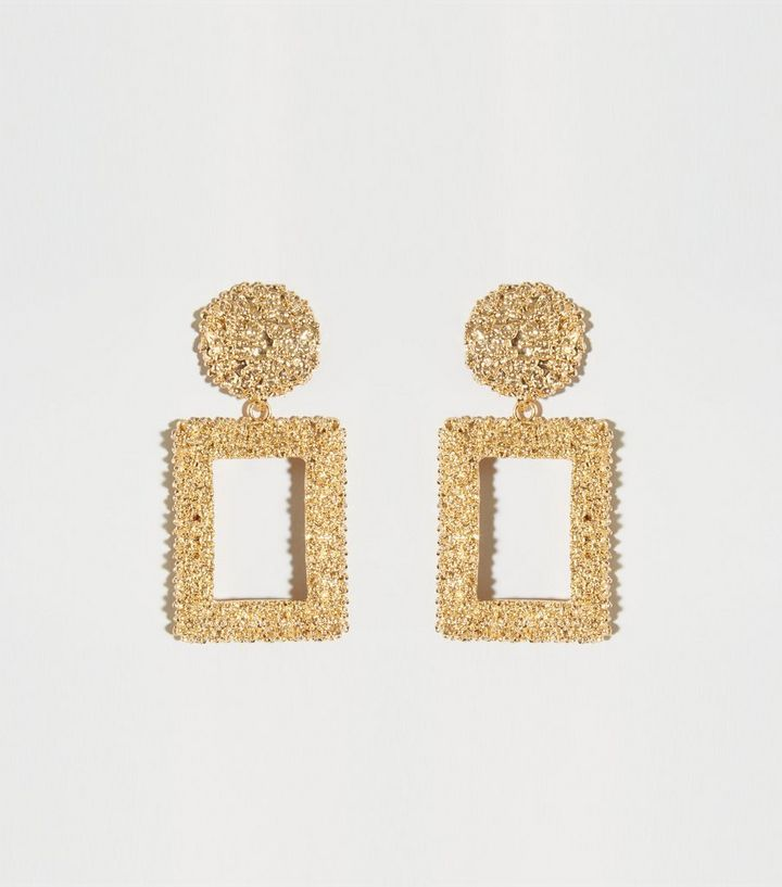 Gold Textured Rectangle Drop Earrings Add To Saved Items Remove From