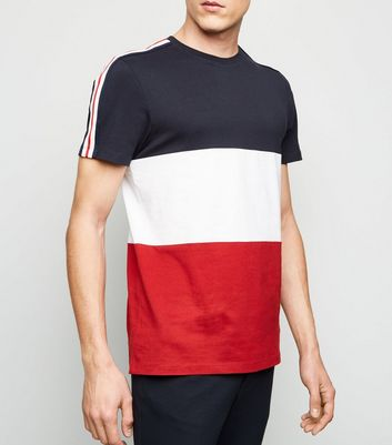 Navy Stripe Sleeve Colour Block T-Shirt