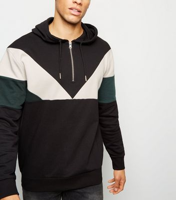 Black Chevron Colour Block Half Zip Hoodie
