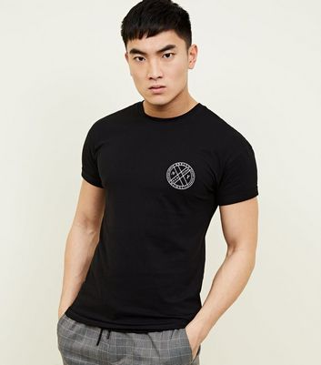 Black NY Circle Logo Muscle Fit T-Shirt
