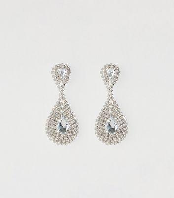 Silver Cupchain Teardrop Chandelier Earrings by New Look