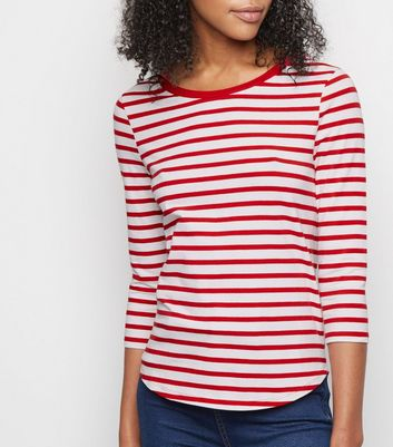 Red Stripe 3/4 Sleeve T-Shirt