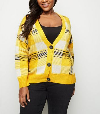 Curves Yellow Check Knit Cardigan