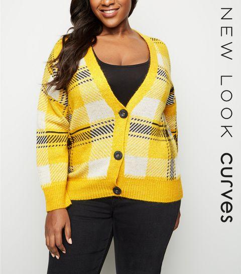 d2fb339c95b Curves Yellow Check Knit Cardigan · Curves Yellow Check Knit Cardigan ...