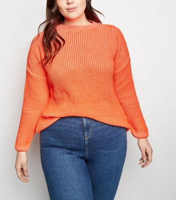 Curves Orange Neon Slouchy Jumper