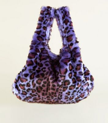 Purple Faux Leopard Fur Pouch Bag