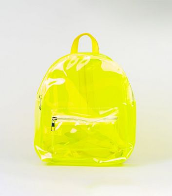Yellow Neon Tinted Clear Backpack