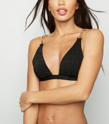 Black Glitter Chain Triangle Bikini Top