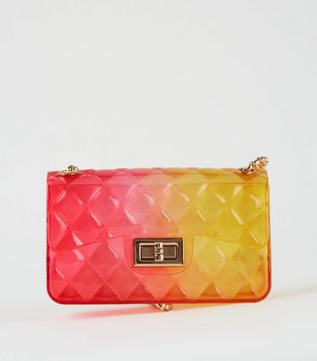 Pink Jelly Quilted Chain Shoulder Bag