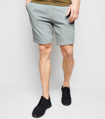 Pale Grey Drawstring Waist Jersey Shorts