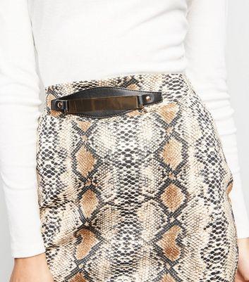shop for Pink Vanilla Brown Snake Print Gold Belt Skirt New Look at Shopo