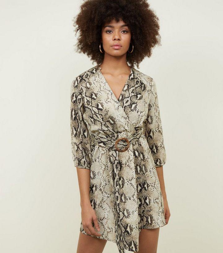 14a6a8967732 Blue Vanilla Brown Snake Print Tie Waist Dress   New Look
