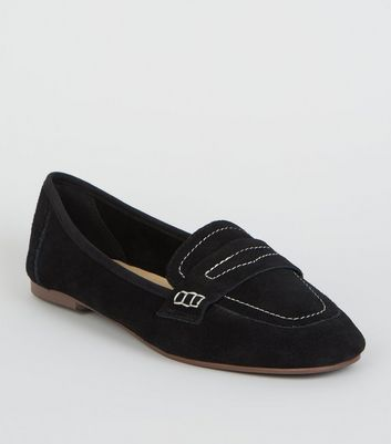 Black Suede Contrast Stitch Loafers