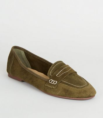 Khaki Suede Contrast Stitch Loafers