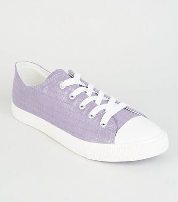 Lilac Faux Croc Lace Up Trainers