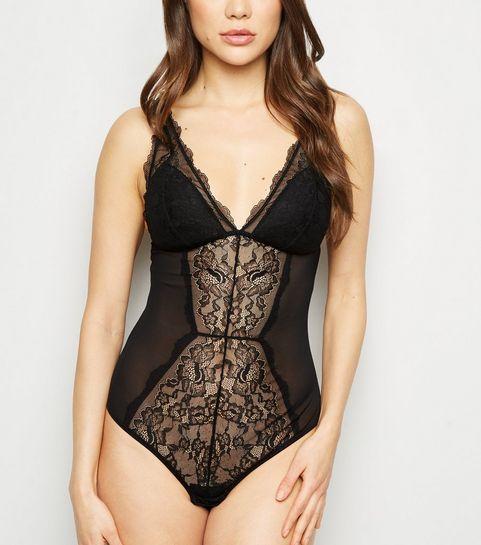 36c7de8740 ... Black Lace Panel Padded Bodysuit ...