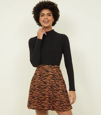 Brown Tiger Print Pleated Mini Skirt