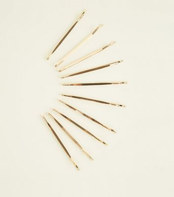10 Pack Gold Hair Slides