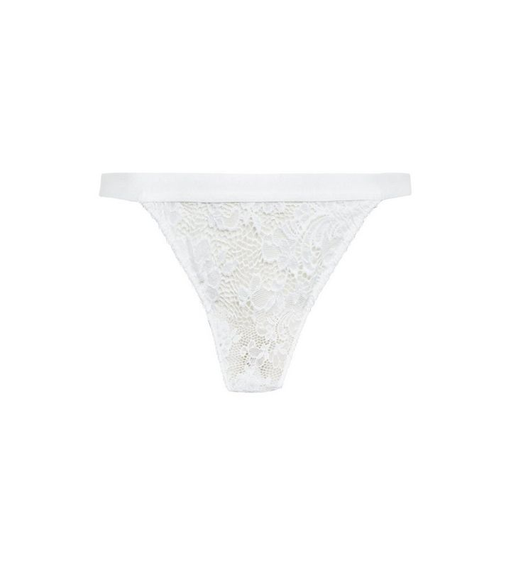 d79b9ae0fd7a White Lace Elastic Strap Thong | New Look