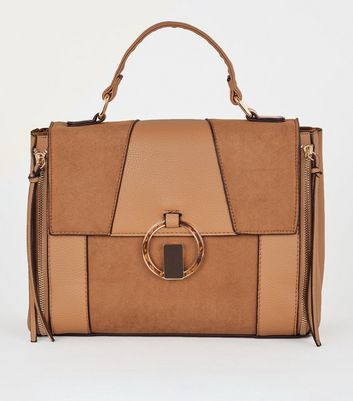 Tan Mixed Panel Ring Front Satchel Bag