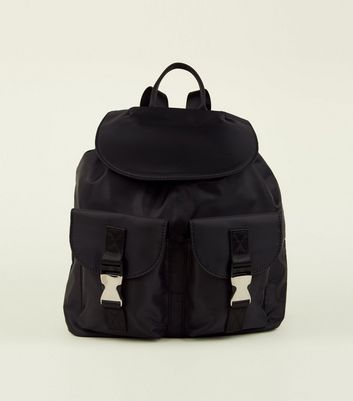 Black High Shine Double Pocket Backpack