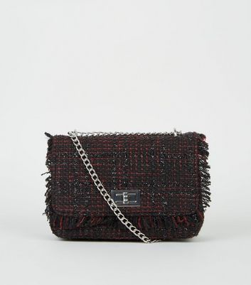 Black and Burgundy Bouclé Chain Shoulder Bag