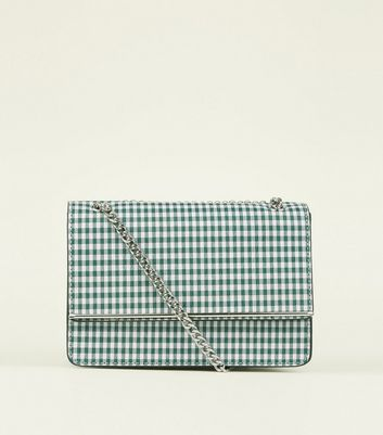 Green Gingham Chain Strap Shoulder Bag