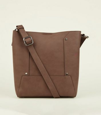Mink Stud Panel Structured Shopper Bag
