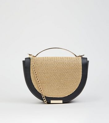 Stone Woven Straw Effect Half Moon Bag