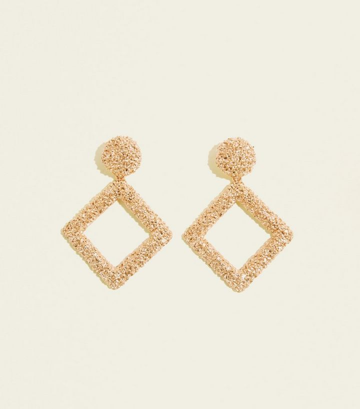 Gold Textured Diamond Shaped Drop Earrings Add To Saved Items Remove From