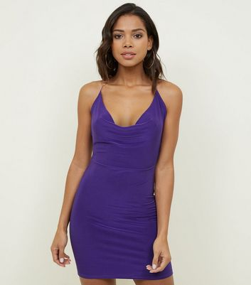 Light Purple Slinky Cowl Neck Dress