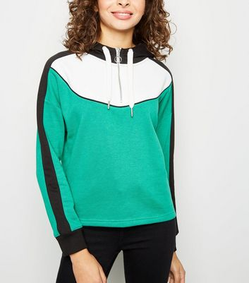 Green Curve Colour Block Half Zip Hoodie