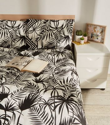 Monochrome Palm Print Cotton Double Duvet Set