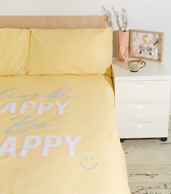 Yellow Flecked Happy Slogan Cotton Double Duvet Set